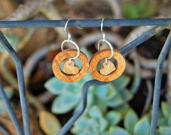 mango wood, wooden earrings, heart earrings, sterling silver, made in Maui, wood jewelry, heart jewelry, hand cut, hand crafted, Hawaii made