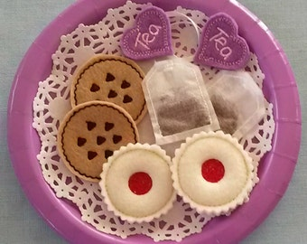 Felt Play Food - Tea for 2 - Pretend Play - Cookies and Tea - Creative Play - Compliant Tea set