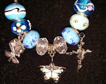 Butterfly and Roses pandora style Bracelet ecb-007