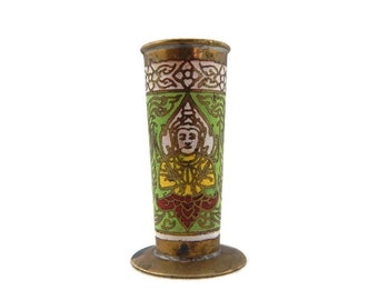 Vintage Toothpick Holder, Brass and Green Enamel Toothpick Holder, Thai Toothpick Holder