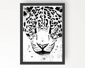Leopard Black & White Ink illustration - Digital Print Poster A4, A3