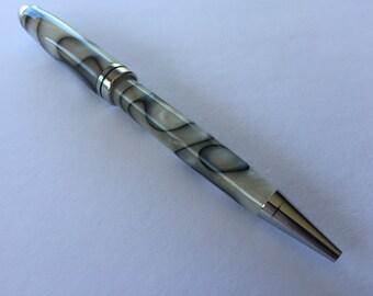 European Style Ballpoint Pen - Black Smokey Swirl Acrylic with Chrome Accents