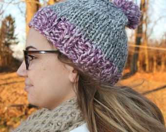 Custom hand knit beanie, choose your own colors. Pom pom optional.