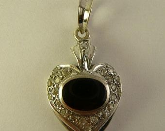 Heart Pendant Sterling Onyx