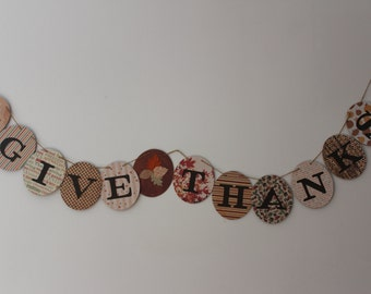 Give Thanks Banner, Thanksgiving Banner, Fall Banner, Decoupage Banner