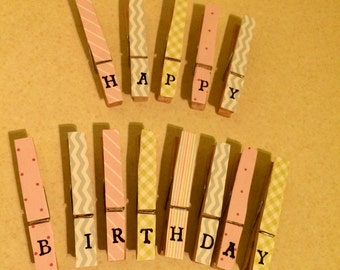 Shabby Chic Pastel Happy Birthday Pegs /With Twine Washing Line