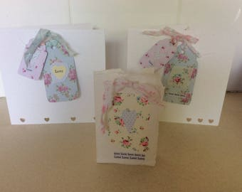 Shabby Chic Handcrafted  Blank Card/ Birthday cards etc. Wedding cards embossed Luggage tags Vintagestyle