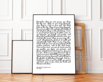 Shine On You Crazy Diamond Lyrics PRINT, Pink Floyd, Modern Minimalist, Music Lyrics, Pink Floyd Poster, Scandinavian Print, Typography