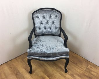 Louis Style Steel Grey Crushed Velvet Vintage Bedroom Chair