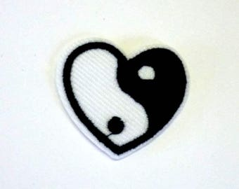 Small Heart Shaped Yin and Yang Black and White Iron on Patch - H446
