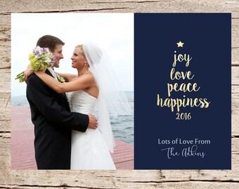 "Photo Christmas Card, Photo Holiday Card, DIGITAL FILE, Printable, ""Joy, Love, Peace, & Happiness"""