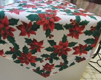 Christmas Table Runner,  Poinsetta Print, White, Red, and Green