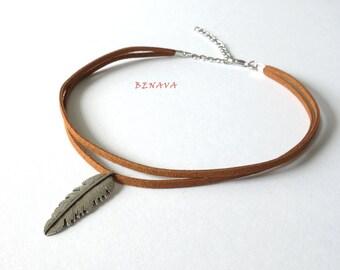 Choker necklace collar spring Brown Silber