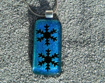Glass silver black blue fusion dichroique snowflake necklace