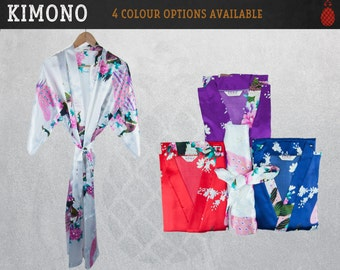 Bridesmaids Robes - Floral Satin Kimono Wedding Gown