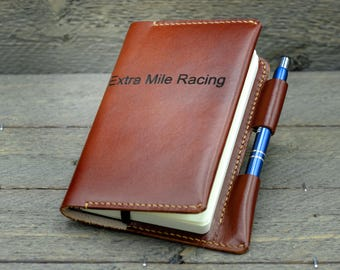 Leather Notebook Cover with Pen Holder / Leather Pocket Notebook Cover / Personalized Notebook Cover / Moleskine Notebook Cover / FN01#19