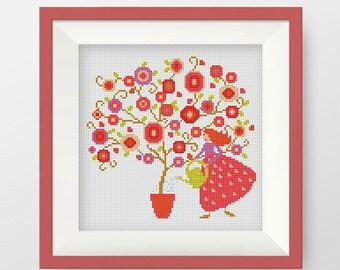BOGO FREE! Giardiniera Cross Stitch Pattern, Silhouette Cross Stitch Chart,Needlecraft Embroidery Needlework PDF Instant Download,S054
