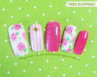 Romantic Roses press on nails