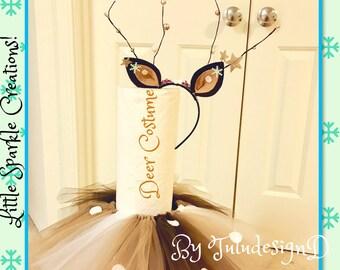 Deer costume, deer antler headband,deer tutus