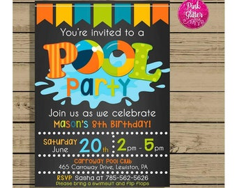 pool party invitation pool party invite pool party birthday pool party birthday invite - Birthday Pool Party Invitations