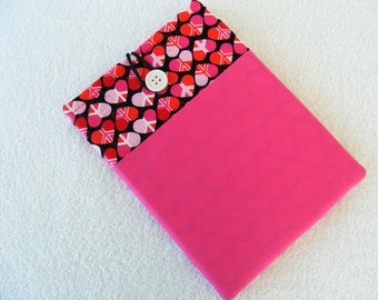 """IPad Cover Sleeve, IPad2 Cover Sleeve, Pink Peace Signs and Hearts 70's Theme Print, 11"""" x 7 3/4"""""""