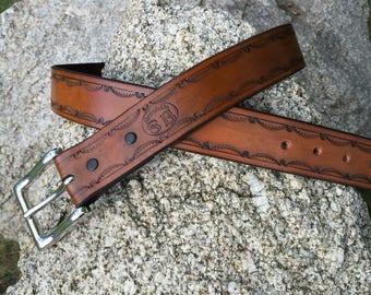 Hand Made Border Tooled Leather Belt