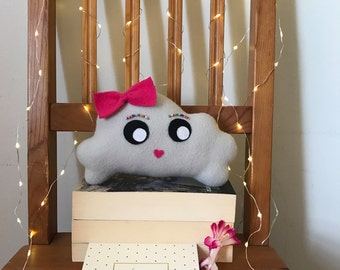 "Miss Plushie, Handmade Toy, Cloud Plush Cushion, Cute Toy, Cute Plush Toy, Cushion Plush, Cloud Bed Decor - 9"" x 5"""