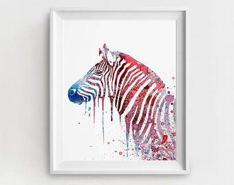 Zebra Print, Zebra Digital, Zebra Printable, Red Blue Zebra, Zebra Wall Decor, DIY Wall Decor, Zebra Illustration, Large Zebra Print
