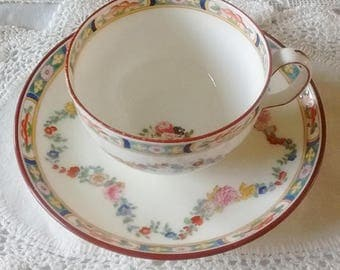 Minton's Rose (A4807) Trio of tea cup, saucer and sideplate.