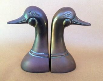 Brass bookends, bird decor, vintage metal, vintage brass, vintage bookends, duck bookends, vintage ducks, brass ducks, animal bookends
