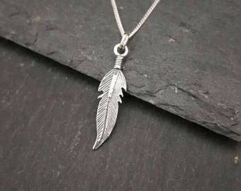 Genuine 925 Sterling Silver Angel Feather Pendant Necklace Gift