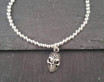 Genuine 925 Sterling Silver Stackable Ball Beaded Elastic Stretch Gothic Skull Pendant Charm Bracelet Gift Wrapped