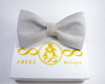 Light Gray Linen Bow Tie, mens bow tie grey, grey grooms bow tie, light grey bow tie, boys bow tie, pre tied bow tie.
