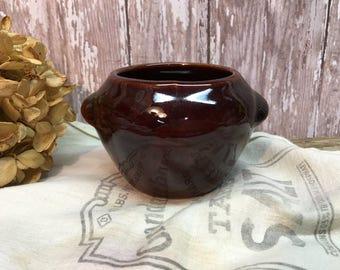 Vintage Small Bean Pot/Brown Pottery/USA