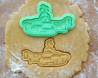 Yellow Submarine cookie cutter. The Beatles cookie stamp. Yellow Submarine cookies