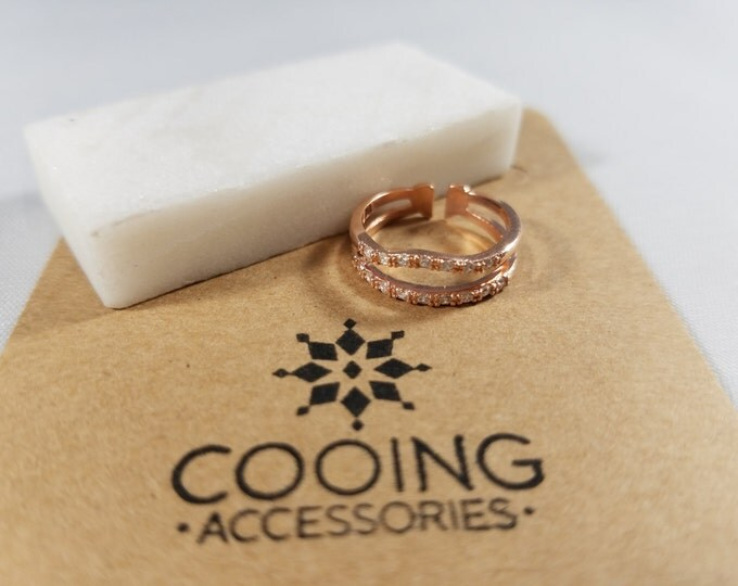 18Kgp Rose Gold Double row Ring with Czech Stones