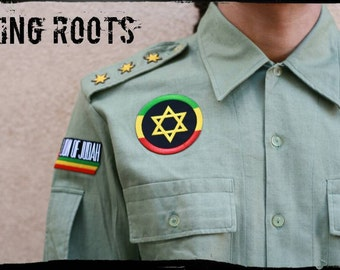 KING roots-Military shirt Rasta reggae Vintage personalized. Beware!! Specify the desired size!