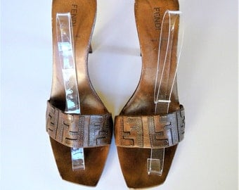 Vintage FENDI Platform Leather Mules Wood Sole Sandals - Made in Italy
