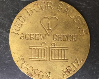 Red Door Saloon - Tuscon Arizona - Brothel Token - Saloon Coin Souvenir - Vintage Memorabilia - Burlesque Collectible - Bordello Fantasy