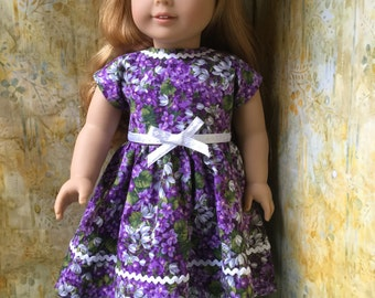 Purple Floral Doll Dress For Your American Girl Doll Handmade Ready To Ship