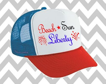 Beach Sun & Liberty Trucker Hat Snapback Hat 4th of July Hat USA Trucker Hat  Patriotic Hat Drinking Hat Lake Hat Beach Hat River Hat