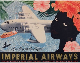 Vintage Imperial Airways Flights Throughout The Empire  Poster A3 Print