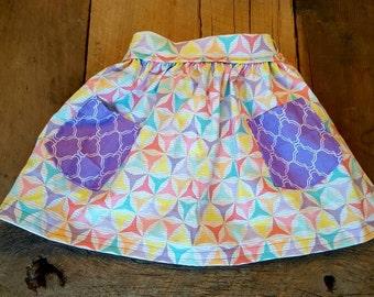 2T Pastel Windmills Skirt with Purple Pockets