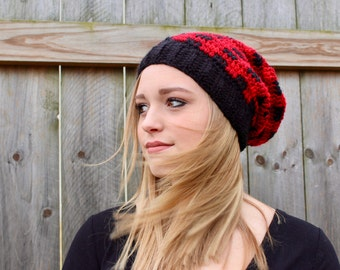 Plaid Red and Black Slouchy Beanie