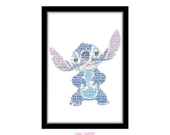 PERSONALISED Stitch From Lilo and Stitch Ohana Word Art Wall Print Gift Idea Decor Birthday For Him Her Son Daughter Mum Baby Nursery Kids