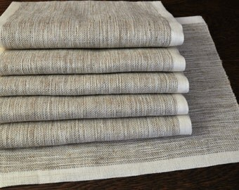 Set of 6 Handwoven Placemats Linen Placemats Table Placemats