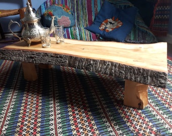 Live / Waney Edge, Rustic, Low Profile, Solid Wood Slab Coffee Table - Wild Cherry
