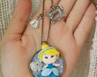 Disney cinderella cameo necklace polymer clay necklace