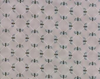 Bumble Bee Lattice in Pebble Gray - Bee Inspired - cotton fabric