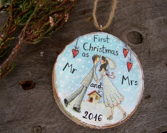 Wedding Couple Ornament, Our First Christmas Ornament, Newlywed Ornament, Wedding Gift, Rustic Wedding Wood Ornament, Mr and Mrs Ornament
